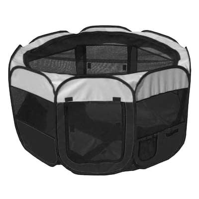 All-Terrain Lightweight Easy Folding Wire-Framed Collapsible Travel Dog Playpen - Black/White - MD
