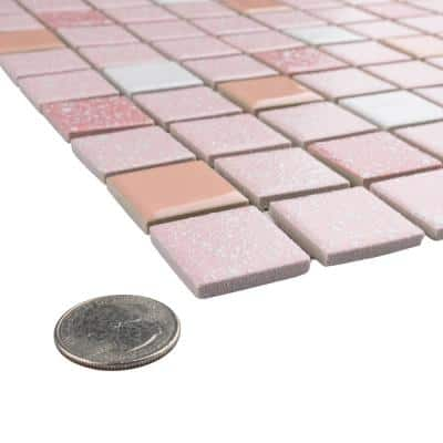 Crystalline Straight Edge Square Pink 11-3/4 in. x 11-3/4 in. Porcelain Mosaic (29.38 sq. ft./Case)