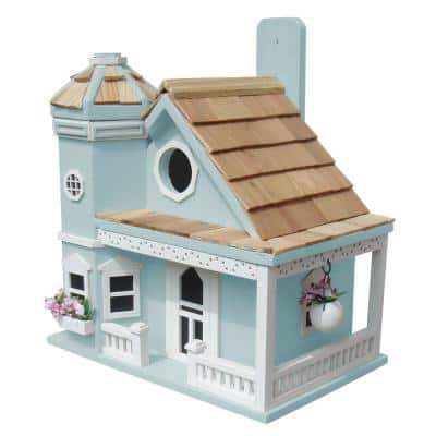Flower Pot Blue Cottage Birdhouse