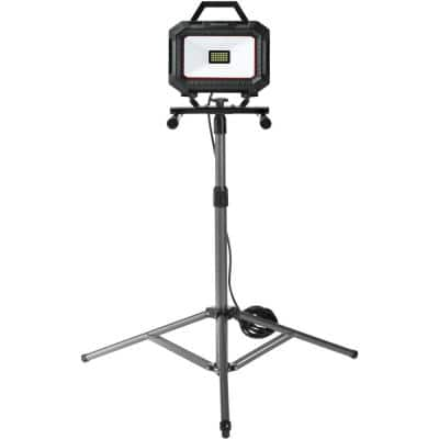 Black and Red Integrated LED Portable Work Light with TriPod