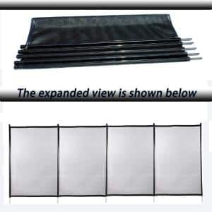 4 ft. x 12 ft. Outdoor Round Pool Above Ground Pool Safety Fence with Section Kit, Removable Mesh Barrier, Black