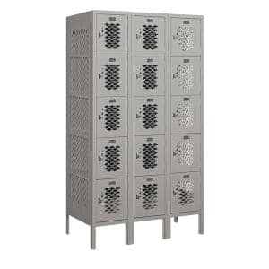 75000 Series 15 Compartments Five Tier 36 In. W x 66 In. H x 18 In. D Vented Metal Locker Assembled in Gray