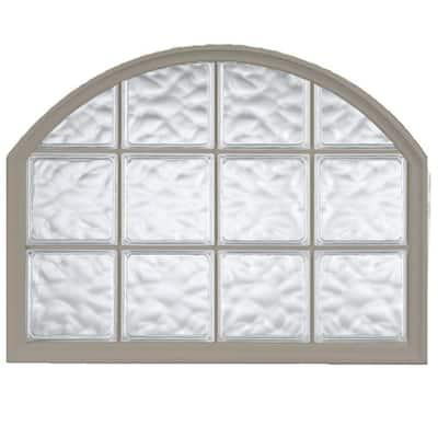 42 in. x 50 in. Acrylic Block Arch Top Vinyl Window in Driftwood