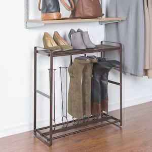 3-Pair Bronze Tilt-Out Tall Boot Shoe Rack