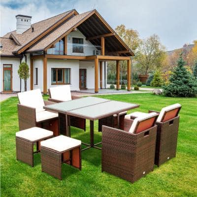 Brown 9-Piece Wicker Outdoor Dining Set with Beige Cushions