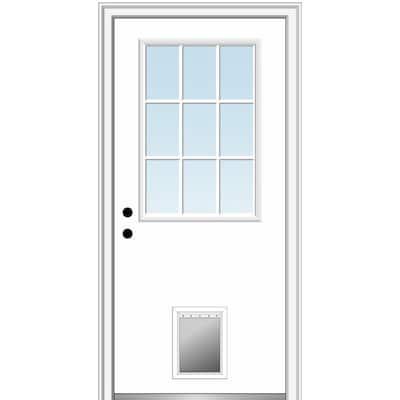 32 in. x 80 in. Classic Right-Hand Inswing 1/2-Lite Clear Primed Fiberglass Smooth Prehung Front Door with Pet Door
