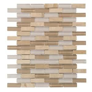 Cottage Ridge Mini Brick Beige 9.75 in. x 11.875 in. Interlocking Glass/Travertine Mosaic Tile (0.812 sq. ft./Each)