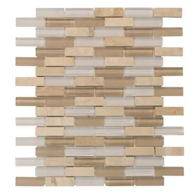 Cottage Ridge Mini Brick Beige 9.75 in. x 11.875 in. Interlocking Glass/Travertine Mosaic Tile (0.812 sq. ft./Each)