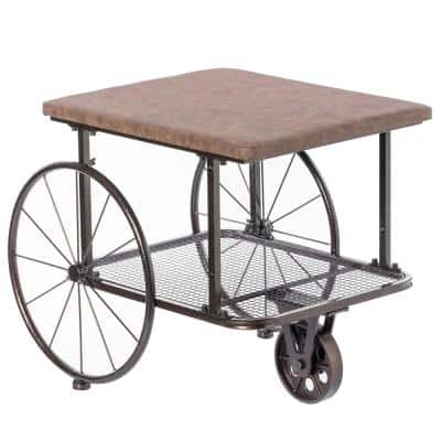 Small Industrial Wagon Style Coffee Table Rustic End Table Magazine Holder