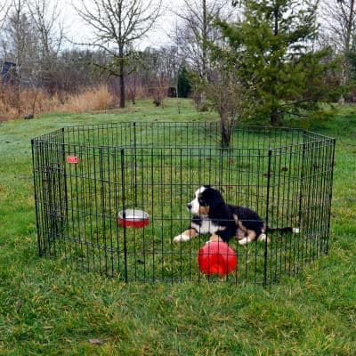 24 in. High Heavy Duty Dog Exercise Pen with Stakes