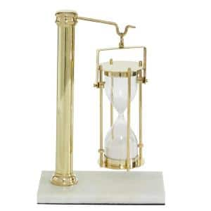 7 in. x 11 in. White Gold Brass Hanging Sand Timer on Rectangular Marble Base