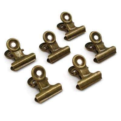 Project Craft Small Stainless Steel Metal Bulldog Clips, Antique Brass Color, 1 in. (6-Pack)