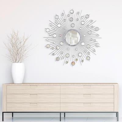 Medium Sunburst Silver Hooks Modern Mirror (36 in. H x 36 in. W)