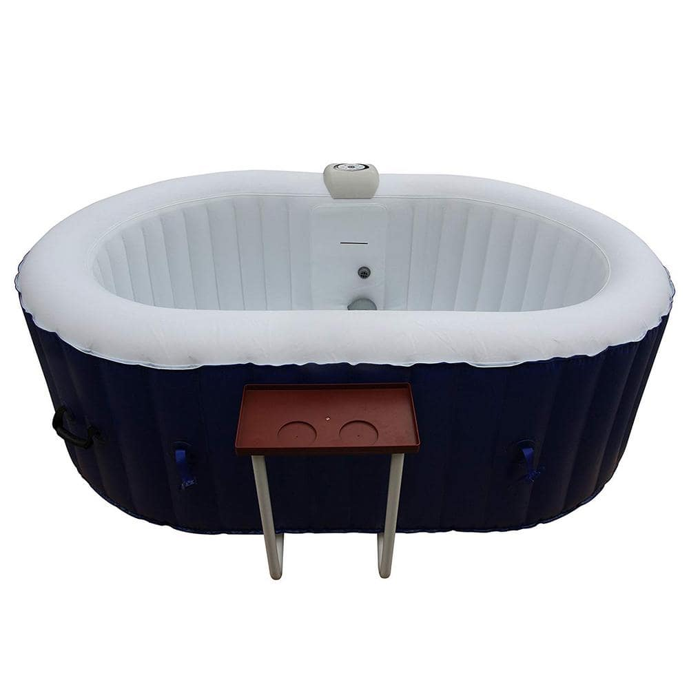 Aleko 2 Person 100 Jet Inflatable Hot Tub With Drink Tray Htio2bld Hd The Home Depot
