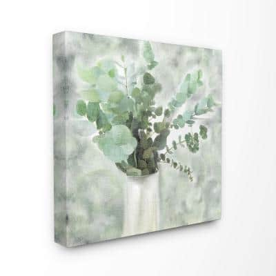 """24 in. x 24 in. """"Sage Green Painterly Eucalyptus In White Vase """" by Kimberly Allen Canvas Wall Art"""
