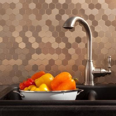 Honeycomb Matted 12 in. x 4 in. Brushed Champagne Metal Decorative Tile Backsplash (1 sq. ft.)