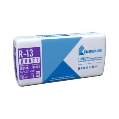 R-13 EcoBatt Kraft Faced Fiberglass Insulation Batt 3-1/2 in. x 23 in. x 93 in.