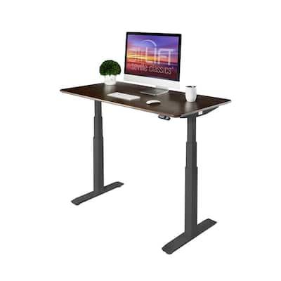 54 in. Rectangular Black/Walnut Standing Desks with Adjustable Height