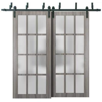48 in. x 80 in. Full Lite Frosted Glass Gray Ash Finished Solid Pine Wood Sliding Barn Door with Hardware Kit