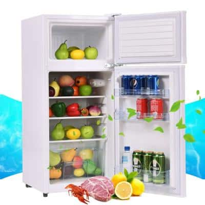 3.4 cu. ft. Compact Mini Fridges Refrigerator Reversible Door in White with Freezer