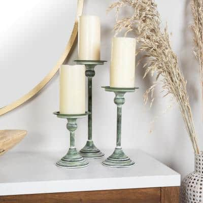 Distressed Green Candle Holders (Set of 3)