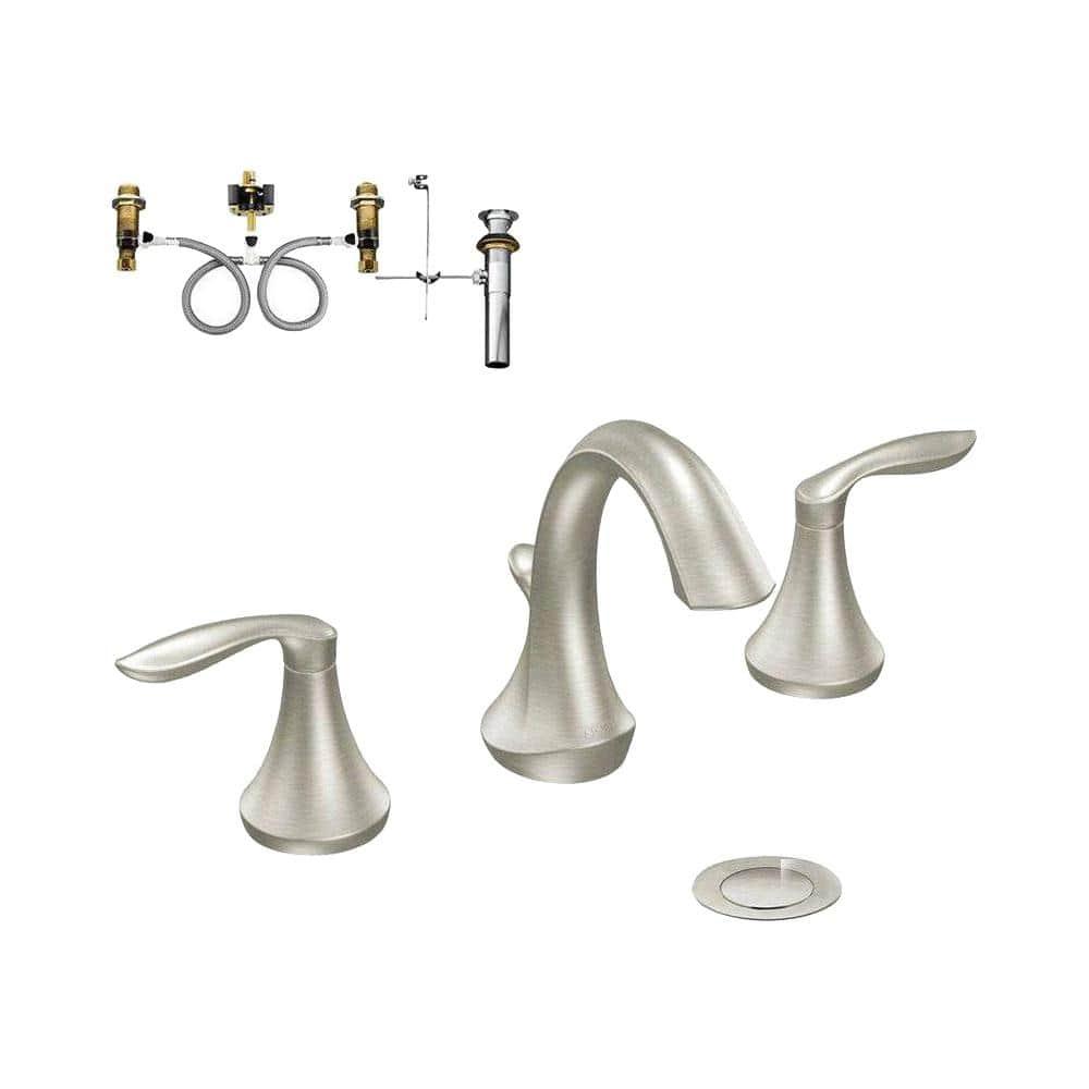 Moen Eva 8 In Widespread 2 Handle Bathroom Faucet Trim Kit In Brushed Nickel Valve Included T6420bn 9000 The Home Depot