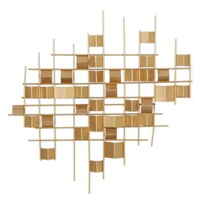 32 in. x 32 in. Gold Metal Contemporary Abstract Wall Decor