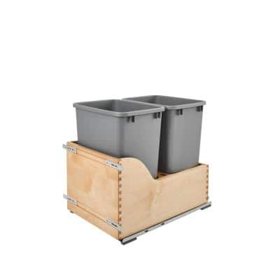 20.38 in. H x 15 in. W x 21.75 in. D Double 35 Qt. Pull-Out Bottom Mount Wood and Silver Waste Container Drawer
