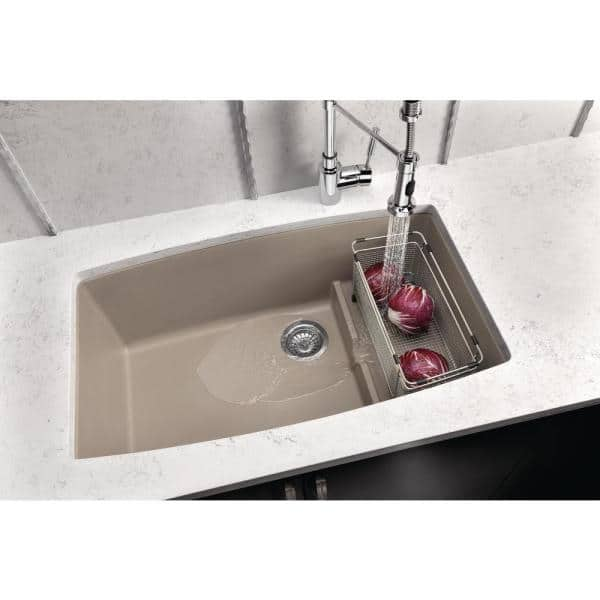 Blanco Performa Cascade Undermount Granite Composite 32 In Single Bowl Kitchen Sink With Mesh Colander Truffle 441291 The Home Depot