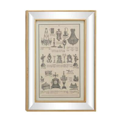 19.5 in. x 28.5 in. Large Vintage Style French Illustrations Textile in Rectangular Mirror and Gold Frame