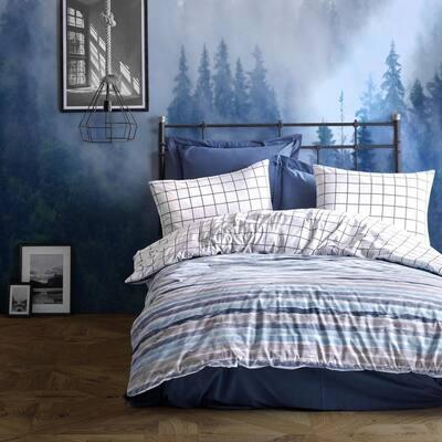 Off White Stripes Duvet Cover Set : Blue Full Size Cotton Duvet Cover 1-Duvet Cover 1-Fitted Sheet and 2-Pillowcases
