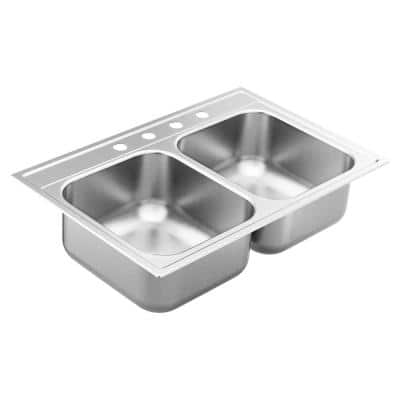 1800 Series Stainless Steel 33 in. 4-Hole Double Bowl Drop-In Kitchen Sink with 8 in. Depth
