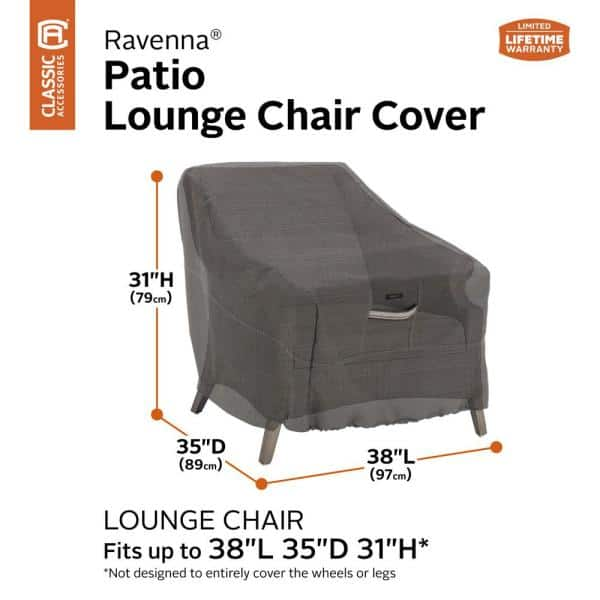 Classic Accessories Ravenna Dark Taupe, Round Lounge Chair Covers