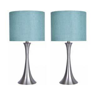 24.25 in. Brushed Nickel Table Lamp Set with Flared Body and Turquoise Linen Shade (2-Pack)