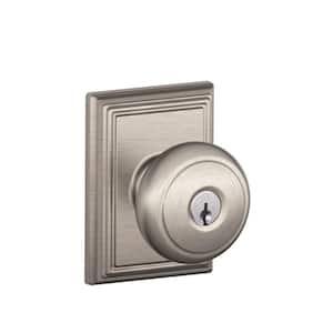 Andover Satin Nickel Keyed Entry Door Knob with Addison Trim