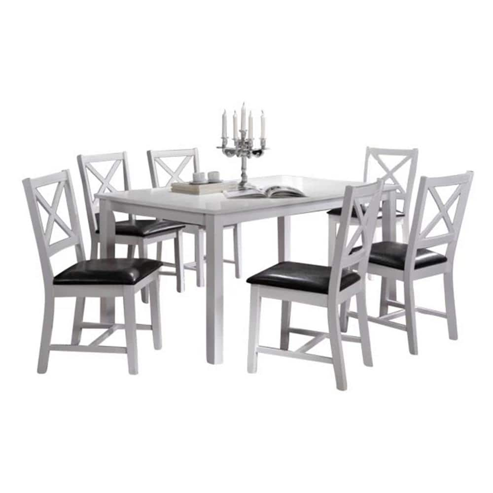Oakland Living Indoor White And Black Cross Back 7 Piece Dining Set Solid Wood Rectangular Table Hdalaska1 6 The Home Depot