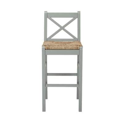 Dorsey Willow Green Wood Bar Stool with Back and Rush Seat (17.72 in. W x 44.49 in. H)