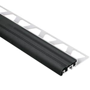 Trep-S Aluminum with Black Insert 5/16 in. x 8 ft. 2-1/2 in. Metal Stair Nose Tile Edging Trim