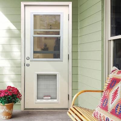 36 in. x 80 in. Classic Clear Vented Half Lite LHOS White Primed Fiberglass Prehung Back Door with SL Pet Door