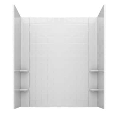 Rampart 60 in. x 60 in. 4-Piece Easy Up Adhesive Alcove Tub Surround with 4 in. Square Tiling in White