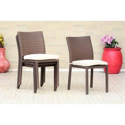 Liberty Brown Patio Dining Armchair with Off-White Cushion (4-Pack)