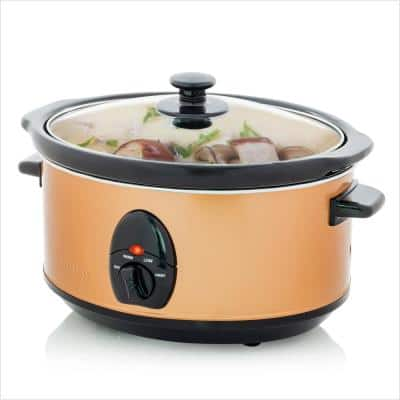 3.7 Qt. Stainless Steel Electric Slow Cooker with Heat-Tempered Glass Lid, Adjustable Temperature Control