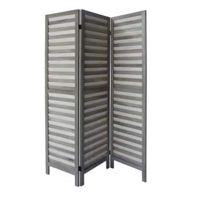5.5 ft. Light Gray 3-Panel Foldable Wooden Room Divider Privacy Screen with Shutter Design and Metal Hinges