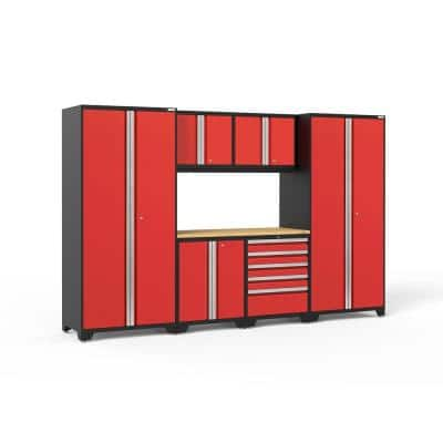 Pro Series 128 in. W x 84.75 in. H x 24 in. D 18-Gauge Steel Garage Cabinet Set in Red (7-Piece)