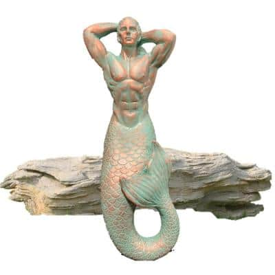 15 in. Merman Mermaid Triton Shelf Sitter Nautical Beach Statue