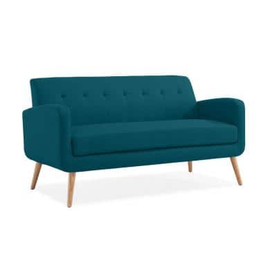 Werner 65.5 in. Peacock Blue Linen-Like Fabric with Natural Legs 2-Seat Mid Century Modern Sofa