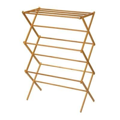 30 in x 20 in Bamboo Wooden clothes Drying Rack