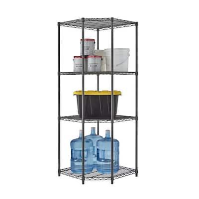 PRO Black 4-Tier Corner Steel Wire Garage Storage Shelving Unit (27 in. W x 72 in. H x 18 in. D)