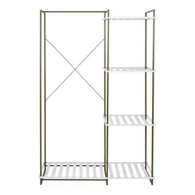 White Steel Clothes Rack 45.2 in. W x 68 in. H