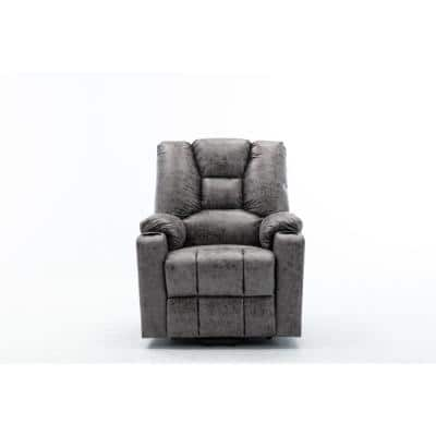 Gray Microfiber Power Motion Heating Message Recliner with USB Charge Port